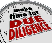 Make the Time for Due Diligence 3d Words Clock Business Obligati